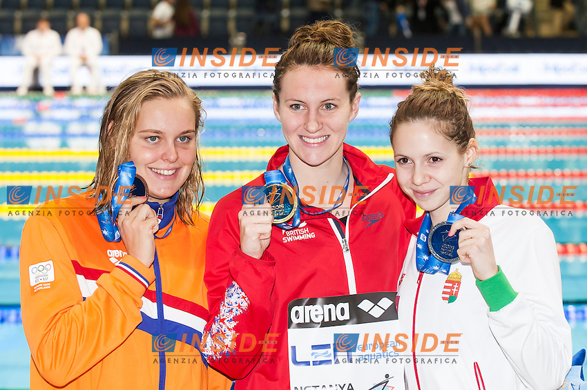 CARLIN Jazmin GBR gold medal, KAPAS Boglarka HUN silver medal, ROUWENDAAL Sharon NED bronze medal<br /> Women's 800m freestyle final<br /> Netanya, Israel, Wingate Institute<br /> LEN European Short Course Swimming Championships  Dec. 2 - 6, 2015 Day02 Dec. 3nd<br /> Nuoto Campionati Europei di nuoto in vasca corta<br /> Photo Insidefoto
