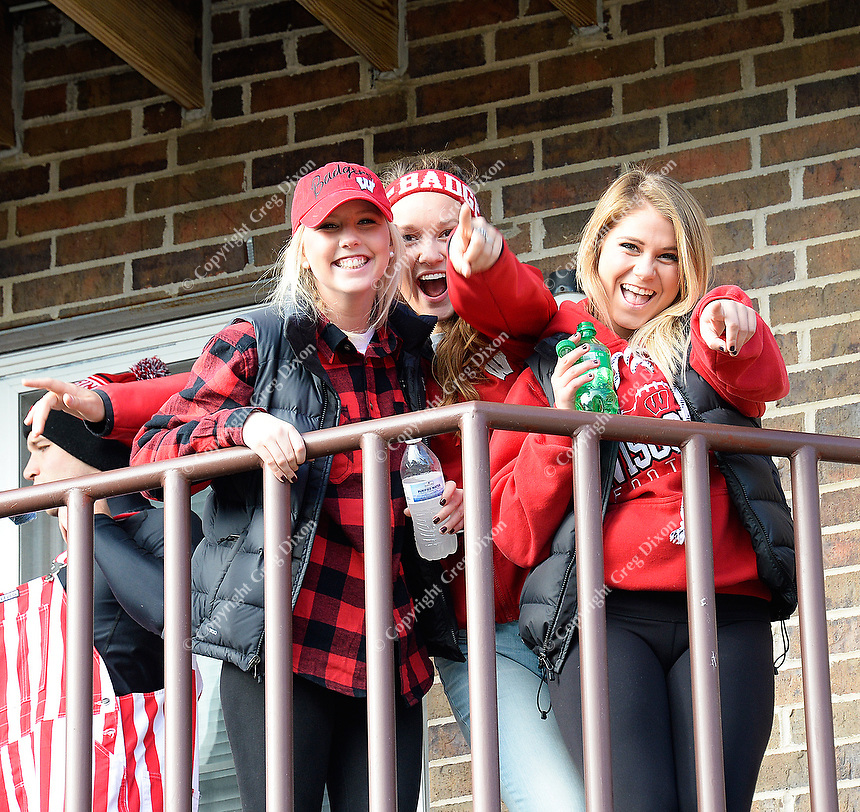 Badger fans celebrate UW Homecoming on Saturday, October 17, 2015 at the University of Wisconsin in Madison, Wisconsin