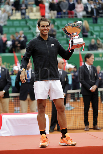 April 23rd 2017, Monte Carlo, Monaco; The Monte-Carlo Rolex Masters tennis tournament singles final, Rafael Nadal versus Albert Ramos-Vinolas; Nadal receives his trophy from Prince Albert