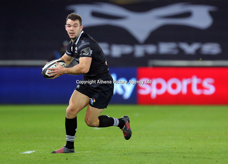 during the Guinness PRO14 match between Ospreys and Dragons at The Liberty Stadium, Swansea, Wales, UK. Friday 27 October 2017