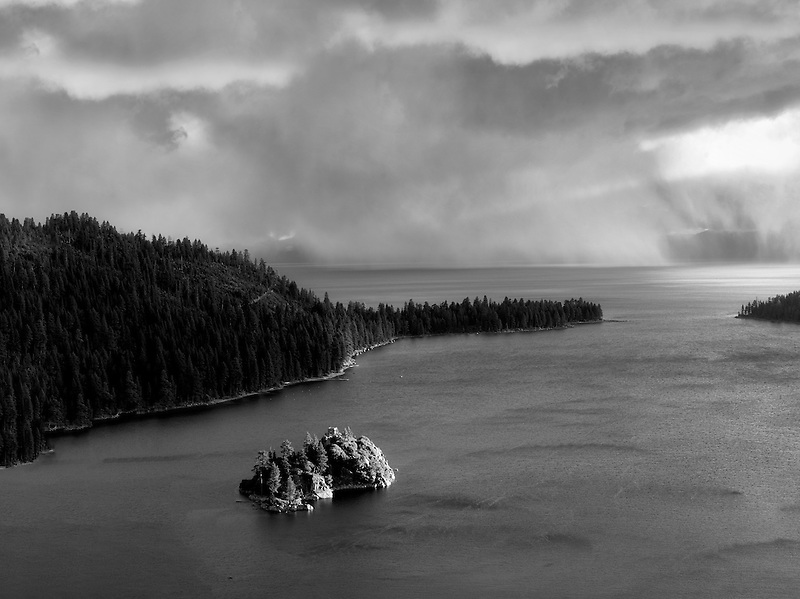 Storm with rain over Emerald Bay and Fannette Island. Lake Tahoe, California.