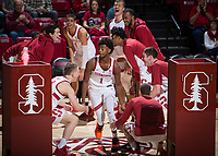 STANFORD, CA - January 26, 2019: Daejon Davis, Isaac White, Keenan Fitzmorris, Cormac Ryan, Jaiden Delaire, Lukas Kisunas, Trevor Stanback at Maples Pavilion. The Stanford Cardinal defeated the Colorado Buffaloes 75-62.