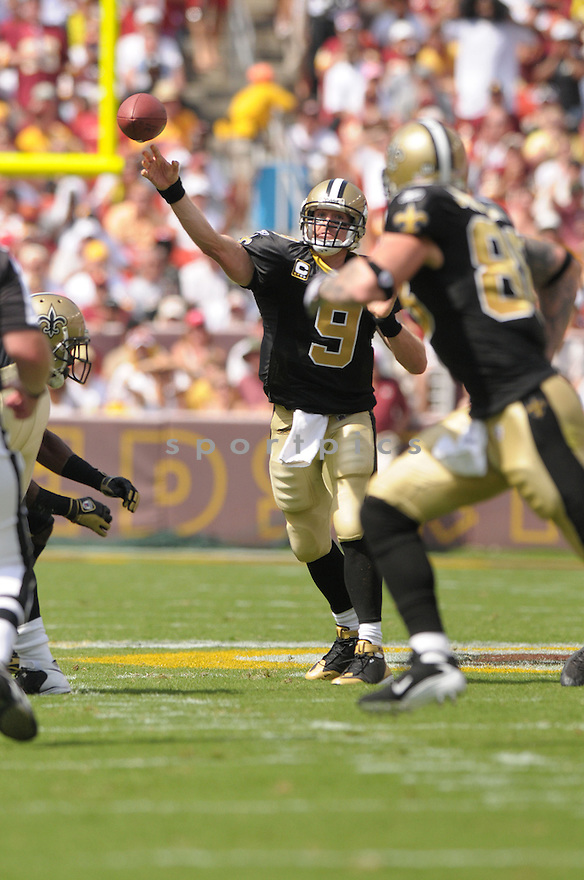 DREW BREES, of the New Orleans Saints, in action during the Saints game against the Washington Redskins on September 14, 2008 in Washington DC...Redskins win 29-24..SportPics