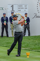 Jhonattan Vegas (VEN) watches his tee shot on 1 during round 2 Four-Ball of the 2017 President's Cup, Liberty National Golf Club, Jersey City, New Jersey, USA. 9/29/2017.<br /> Picture: Golffile | Ken Murray<br /> <br /> All photo usage must carry mandatory copyright credit (&copy; Golffile | Ken Murray)