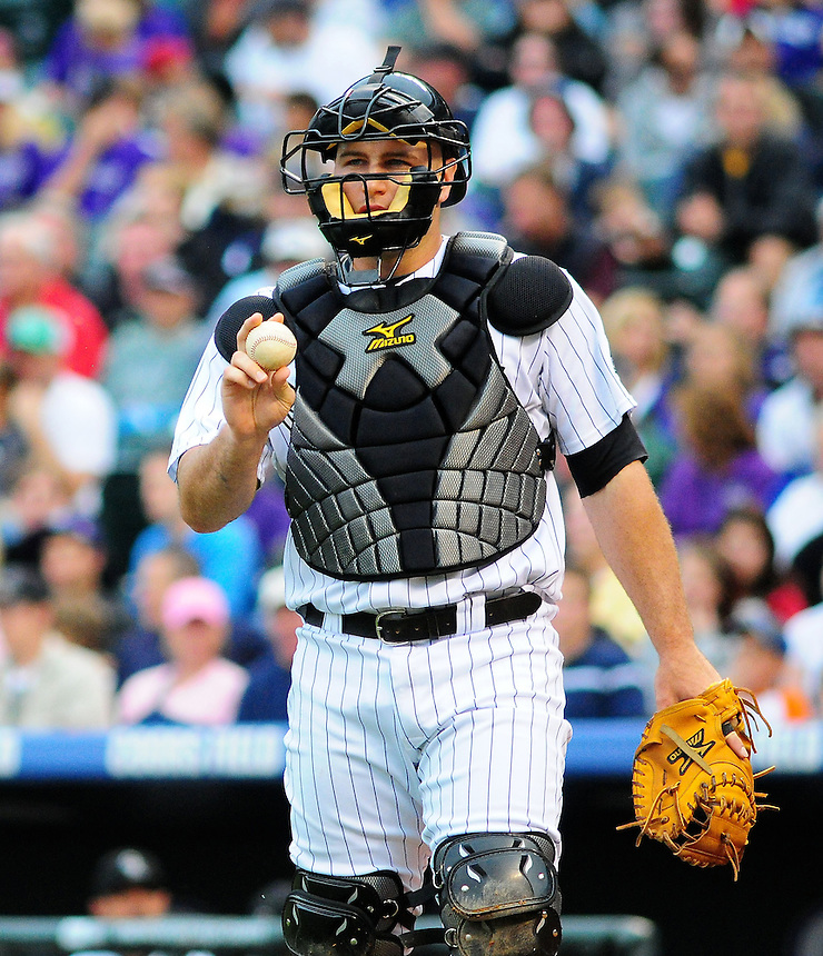 June 20, 2009: Rockies catcher Chris Iannetta during a game between the Pittsburgh Pirates and the Colorado Rockies at Coors Field in Denver, Colorado.