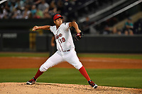 Pitcher Daniel Gonzalez (18) of the Greenville Drive delivers a pitch in a game against the Lexington Legends on Wednesday, April 12, 2017, at Fluor Field at the West End in Greenville, South Carolina. Greenville won, 4-1. (Tom Priddy/Four Seam Images)