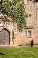 Priest on his way to say mass at Mission San Hose at the San Antonio Missions National Historic Park.