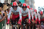 Nicolas Edet (FRA) and Cofidis team in action during Stage 1 of La Vuelta 2019, a team time trial running 13.4km from Salinas de Torrevieja to Torrevieja, Spain. 24th August 2019.<br /> Picture: Colin Flockton | Cyclefile<br /> <br /> All photos usage must carry mandatory copyright credit (© Cyclefile | Colin Flockton)