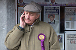 © Joel Goodman - 07973 332324 .  10/02/2014 . Sale , UK . Neil Hamilton outside the UKIP campaign office in Sale . Neil Hamilton , Deputy Chairman of UKIP , and his wife , Christine Hamilton , campaign for UKIP on the trail for the Wythenshawe and Sale East by-election , today (Monday 10th February 2014) . UKIP 's candidate , John Bickley , is widely predicted to come second . The election was called after the death of the Labour MP , Paul Goggins . Photo credit : Joel Goodman