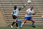 28 August 2009: Central Florida's Aline Reis (1) throws the ball over Duke's Marybeth Kreger (17). The Duke University Blue Devils lost 3-2 to the University of Central Florida Knights at Fetzer Field in Chapel Hill, North Carolina in an NCAA Division I Women's college soccer game.