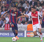 21.10.2014 Barcelona, Spain. UEFA Champions League matchday 3 Group 3. Picture show  Neymar Jr (L) and Ricardo Van Rhijn (R) in action during game between FC Barcelona against Ajax at Camp Nou