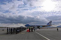 Pictured: Air Force One at the Eleftherios Venizelos Airport in Athens, Greece. Tuesday 15 November 2016<br /> Re: US President Barack Obama state visit to Greece