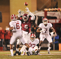 NWA Media/Michael Woods --10/11/2014-- w @NWAMICHAELW...University of ArkansasJaMichael Winston puts the pressure on Alabama quarterback Blake Sims as he completes a pass to Cam Sims in the 4th quarter of Saturdays game at Razorback Stadium in Fayetteville.
