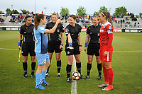 Boyds, MD - Saturday May 6, 2017: Kelley O'Hara, Shelina Zadorsky prior to a regular season National Women's Soccer League (NWSL) match between the Washington Spirit and Sky Blue FC at Maureen Hendricks Field, Maryland SoccerPlex.