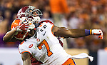 Alabama defensive back Marlon Humphrey is called for pass interference against Clemson wide receiver Mike Williams in the second half of the 2017 College Football Playoff National Championship in Tampa, Florida on January 9, 2017.  Clemson defeated Alabama 35-31. Photo by Mark Wallheiser/UPI