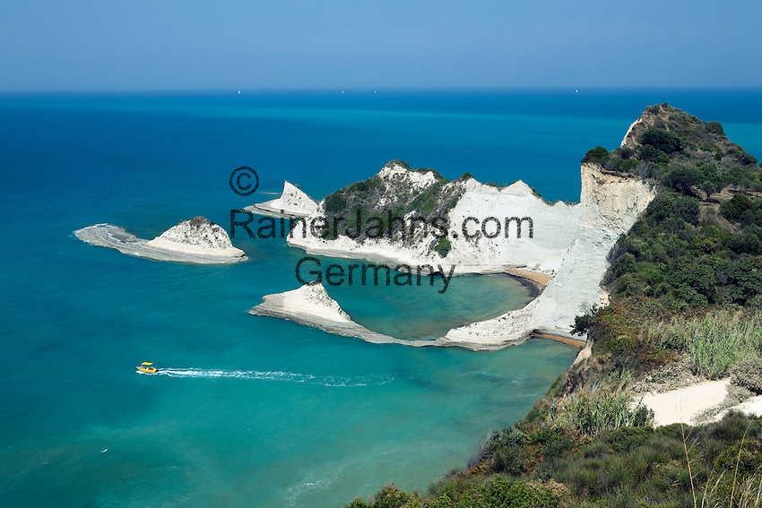 Greece, Corfu, near Peroulades: View over white cliffs of Akrotirio Drastis on North coast of island