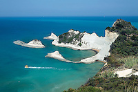 Greece, Corfu, near Peroulades: View over white cliffs of Akrotirio Drastis on North coast of island