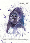 Simon, REALISTIC ANIMALS, REALISTISCHE TIERE, ANIMALES REALISTICOS, paintings+++++KatherineW_SplatterGorilla,GBWR22,#a#, EVERYDAY
