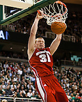 February 16, 2012; East Lansing, MI, USA; Wisconsin Badgers forward Mike Bruesewitz (31) dunks during a Big Ten Conference game against the Michigan State Spartans at the Breslin Center. (Photo by Bob Campbell)