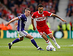 Paul Coutts of Sheffield Utd tracks Lewis Baker of Middlesbrough during the Championship match at the Riverside Stadium, Middlesbrough. Picture date: August 12th 2017. Picture credit should read: Simon Bellis/Sportimage