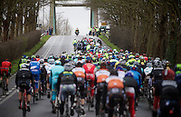 peloton entering Ooigem<br /> <br /> 70th Dwars Door Vlaanderen 2015