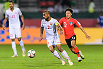Abdulwahab Ali Alsafi of Bahrain (L) fights for the ball with Lee Seungwoo of South Korea (R) during the AFC Asian Cup UAE 2019 Round of 16 match between South Korea (KOR) and Bahrain (BHR) at Rashid Stadium on 22 January 2019 in Dubai, United Arab Emirates. Photo by Marcio Rodrigo Machado / Power Sport Images