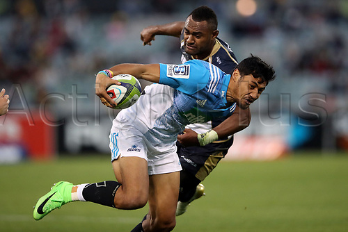 April 30th 2017,Canberra, Australia; Super Rugby Match; Brumbies versus Blues; Melani Nanai breaks past Tevita Kuridrani
