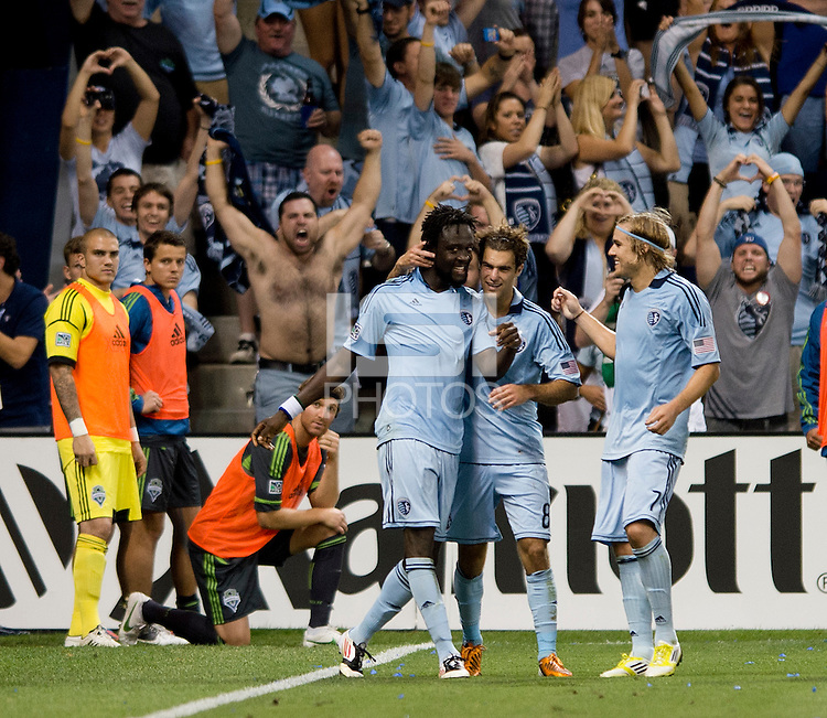 Kei Kamara, Graham Zusi, Chance Myers. Sporting Kansas City won the Lamar Hunt U.S. Open Cup on penalty kicks after tying the Seattle Sounders in overtime at Livestrong Sporting Park in Kansas City, Kansas.