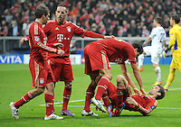 FUSSBALL   CHAMPIONS LEAGUE   SAISON 2011/2012   ACHTELFINALE RUECKSPIEL     13.03.2012 FC Bayern Muenchen - FC Basel        JUBEL nach dem Tor, Philipp Lahm, Franck Ribery, Mario Gomez, Thomas Mueller (v.li., FC Bayern Muenchen)