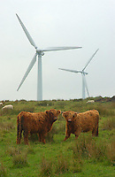 Wind farm, near Huddersfield, Yorkshire. Turbines.