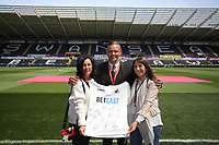 Matchl sponsors with Lee Trundle prior to the Premier League match between Swansea City and West Bromwich Albion at The Liberty Stadium, Swansea, Wales, UK. Sunday 21 May 2017