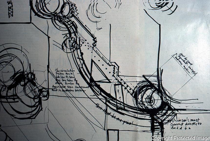 Jon Jerde: Horton Plaza, San Diego. Sketch by Jerde in CALIFORNIA.
