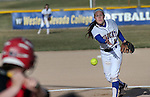 Western Nevada College's Katilyn Covione pitches against Colorado Northwestern Community College at Edmonds Sports Complex in Carson City,Nev., on Friday, Feb. 21, 2014. Western swept the doubleheader 10-2 and 7-2.<br /> Photo by Cathleen Allison/Nevada Photo Source