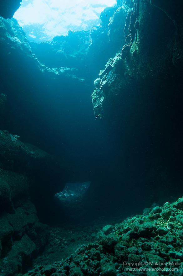 Kona, Big Island of Hawaii, Hawaii; a lava tube with light coming in overhead