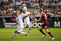 Fabio Coentraao (15) of Real Madrid and Ignazio Abate (20) of A. C. Milan. Real Madrid defeated A. C. Milan 5-1 during a 2012 Herbalife World Football Challenge match at Yankee Stadium in New York, NY, on August 8, 2012.