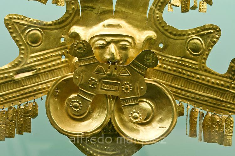 Gold pieces, Gold museum of Zenu culture, Cartagena de Indias, Bolivar Department,, Colombia, South America.
