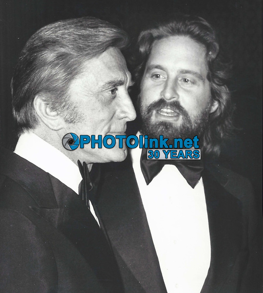 Michael and Kirk Douglas 1977 FILE PHOTO<br /> Photo to By John Barrett-PHOTOlink