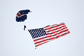 Chicago White Sox had the flag delivered to the field by parachute jumpers during a game vs. the Detroit Tigers at U.S. Cellular Field in Chicago, Illinois August 13, 2010.   Chicago defeated Detroit 8-4.  Photo By Mike Janes/Four Seam Images