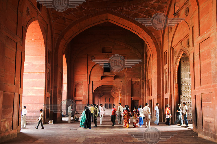 People gather inside the Jama Masjid mosque in Fatehpur Sikri.