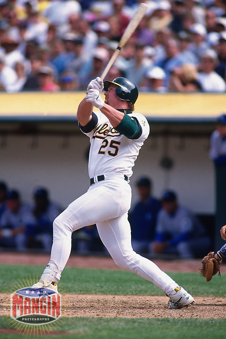 OAKLAND, CA - Mark McGwire of the Oakland Athletics in action during a game against the Kansas City Royals at the Oakland Coliseum in Oakland, California in 1997. Photo by Brad Mangin