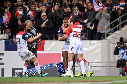 12.11.2016. Stadium Toulouse, Toulouse, France. Autumn International rugby match, France versus Samoa.  Try scored by Virimi Vakatawa (fra) celebrates with Jean Marc Doussain (fra)