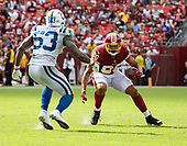 Washington Redskins tight end Jordan Reed (86) carries the ball after making a catch late in the fourth quarter against the Indianapolis Colts at FedEx Field in Landover, Maryland on Sunday, September 16, 2018.  Indianapolis Colts linebacker Darius Leonard (53) defends on the play.  The Colts won the game 21 - 9.<br /> Credit: Ron Sachs / CNP