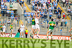 Jonathan Lyne,  Kerry in action against Tommy Moolick, Kildare in the All Ireland Quarter Final at Croke Park on Sunday.