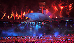 Migaloo The whale and fireworks. Opening Ceremony. XXI Commonwealth games. Carrara Stadium. Gold Coast 2018. Queensland. Australia. 04/04/2018. ~ MANDATORY CREDIT Garry Bowden/SIPPA - NO UNAUTHORISED USE - +44 7837 394578