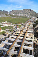 Track for ore trains leads to the mill at Independence Mine State Historical Park, in the Hatcher Pass area about 50 miles north of Anchorage, Alaska.