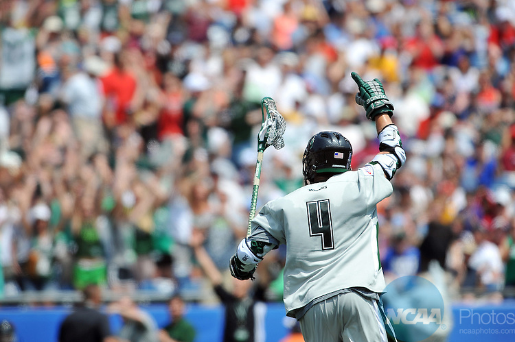 28 MAY 2012:  Mike Sawyer (4) of Loyola University celebrates a goal against the University of Maryland during the Division I Men?s Lacrosse Championship held at Gillette Stadium in Boston, MA. Loyola defeated Maryland 9-3 for the national title.  Larry French/NCAA Photos