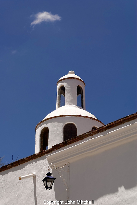 Decorative dome on the roof of a restored mansion in the 19th century mining town of Mineral de Pozos, Guanajuato, Mexico.