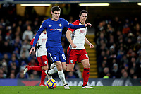 Andreas Christensen of Chelsea in action during Chelsea vs West Bromwich Albion, Premier League Football at Stamford Bridge on 12th February 2018