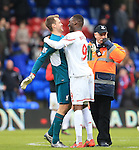 Liverpool's Christian Benteke celebrates at the final whistle with Simon Mignolet<br /> <br /> - English Premier League - Crystal Palace vs Liverpool  - Selhurst Park - London - England - 6th March 2016 - Pic David Klein/Sportimage