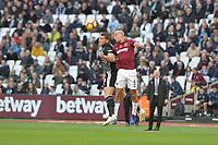 Pablo Zabaleta Of West Ham United and Sam Vokes of Burnley during West Ham United vs Burnley, Premier League Football at The London Stadium on 3rd November 2018